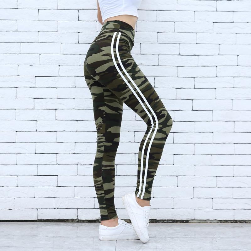 Fitness Camo Prints   Legging   Two Side White Stripes Skinny   Leggings   Elastic Waist Women Stretchy Workout   Leggings   Casual   Leggings