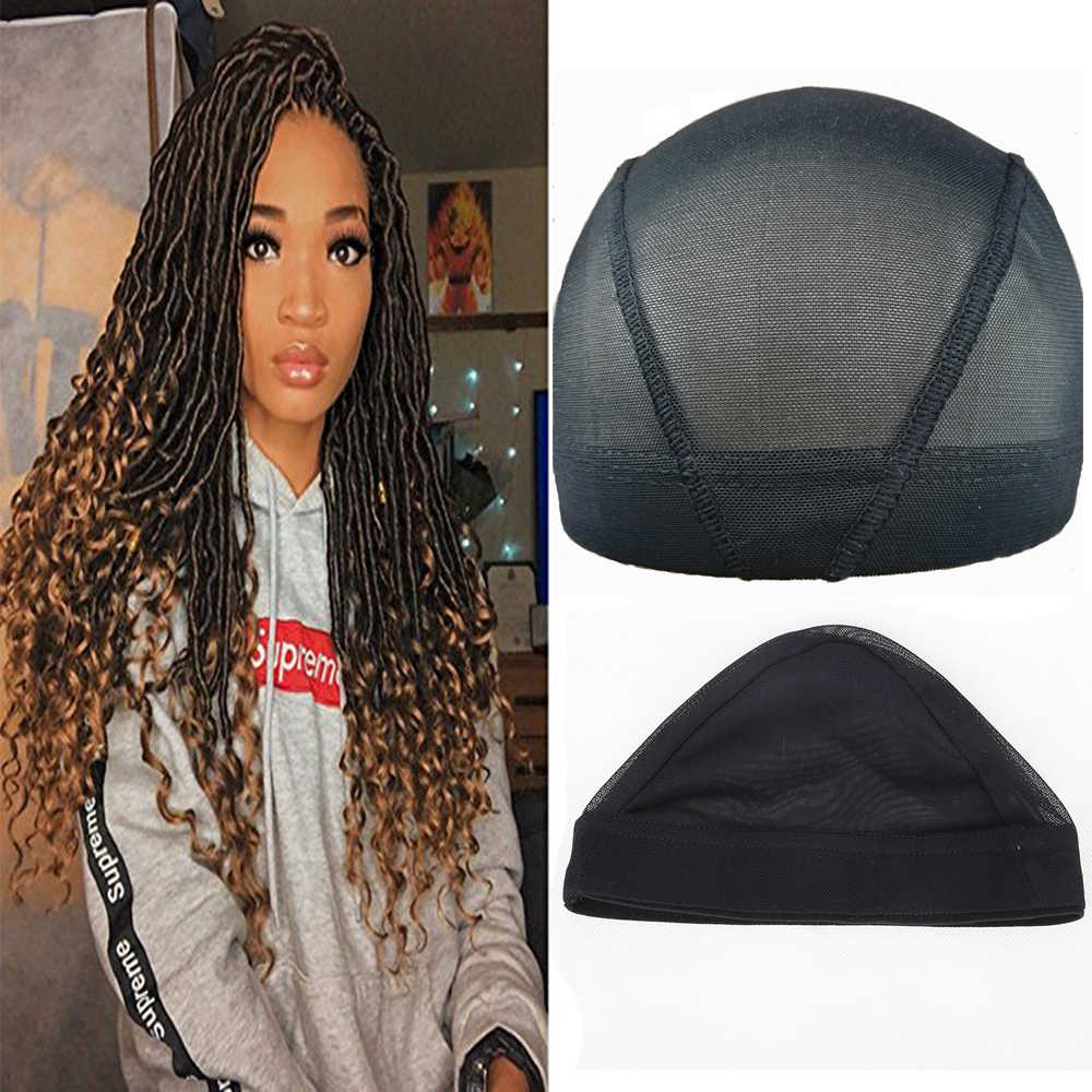 Stretchable Black Weaving Cap Elastic Band Nylon Mesh Net Dome Style Mesh Wig Cap For Making Wigs Sew In Hair