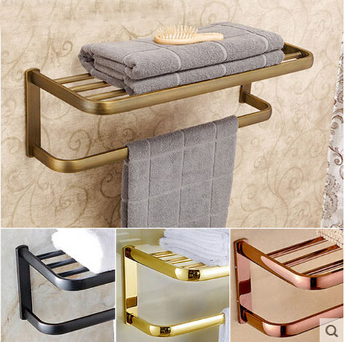 Wholesale And Retail Bath Towel Shelf Gold&Antique&Bronze Finish Towel Rack Bathroom Storage Holder free shipping european luxurious antique bronze towel ring towel holder towel rack bathroom accessories wholesale 66007b