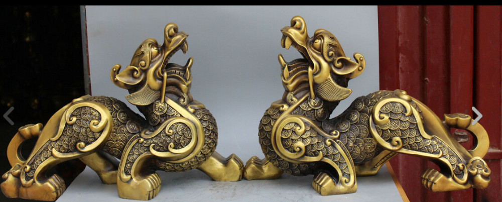 "Zhaorui3 + + 21 ""de Bronce Chino Fengshui Riqueza Dinero Dragón Bestia Pixiu Unicornio Kylin estatua Par"