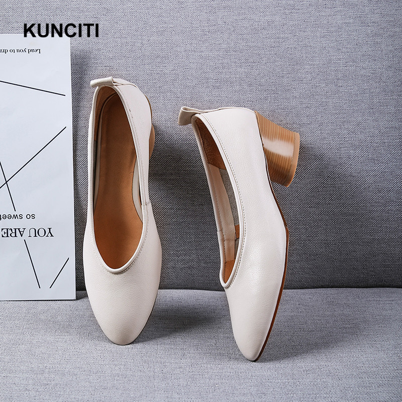 2019 Women Pumps Ladies Med Heel Office Shoes Genuine Leather Mother Shoes Round Toe Fashion Newest