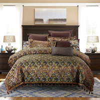 luxury American Style Brown Tassel Embroidery Satin Jacquard Silk/cotton Bedding Set Duvet Cover Bed Linen Bed sheet Pillowcases