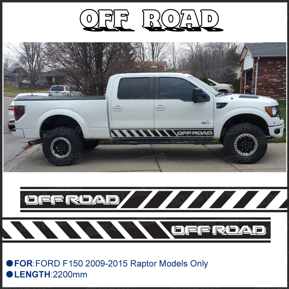 Free shipping 2 pc off road side stripe graphic vinyl sticker for ford ford f150 raptor decals