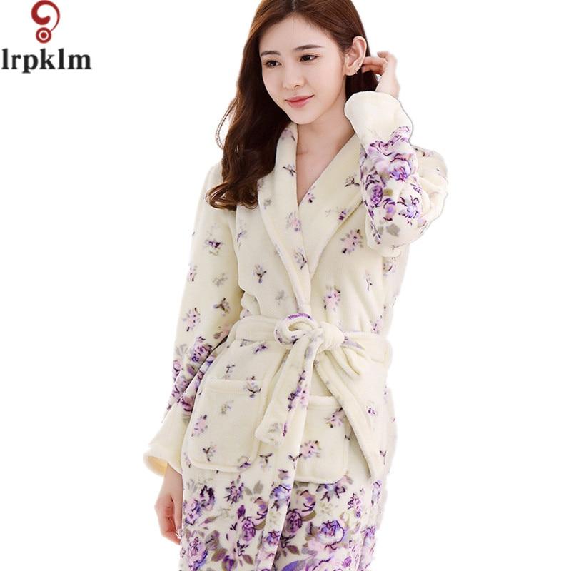 Woman Pink Flannel Robe Watn Winter Home Wear Sleep Waer Robe Long Sleeve Leisurewear Flannel Winter Thick Bath Robe Women SY786