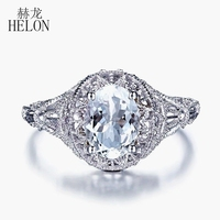 HELON Solid 14K (AU585) White Gold 1CT Genuine Lightest Blue Aquamarine Ring Women Engagement Wedding Art Deco Antique Jewelry