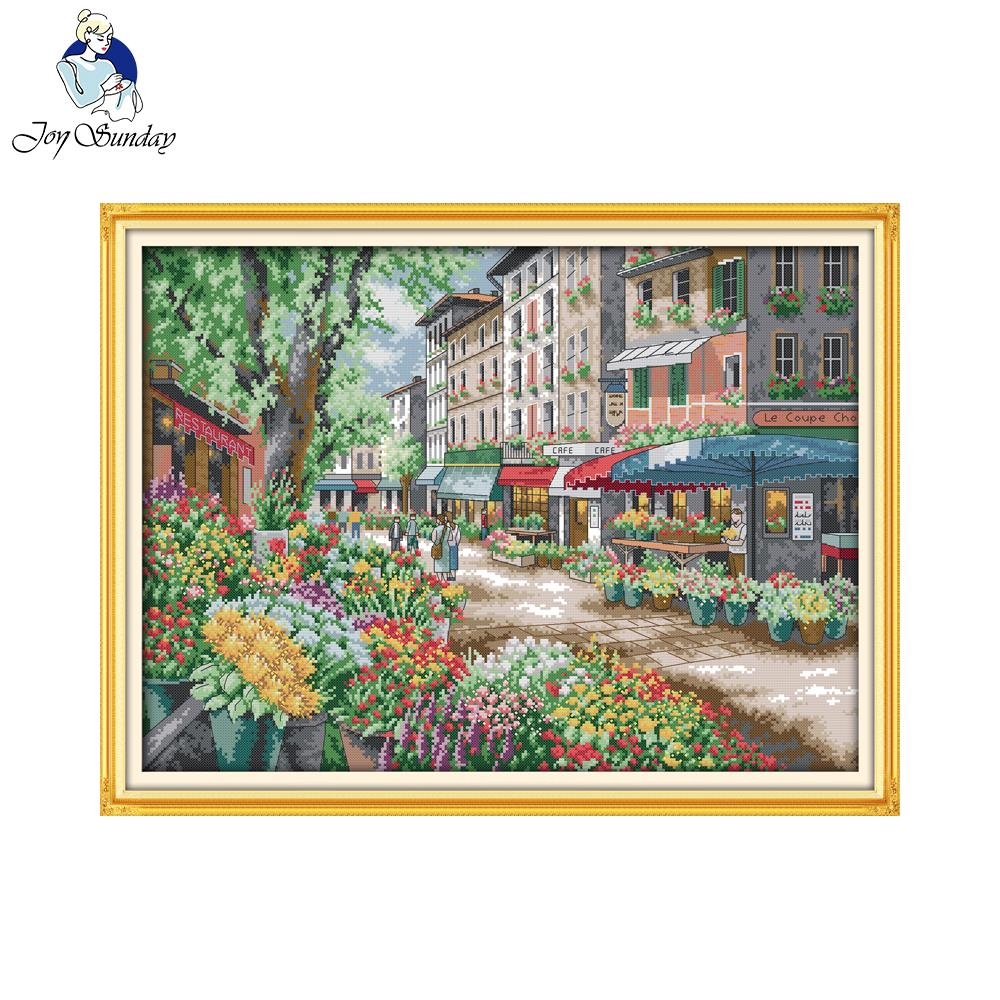 Joy Sunday scenic style Paris flower market home ornament simple modern counted cross stitch kits online store