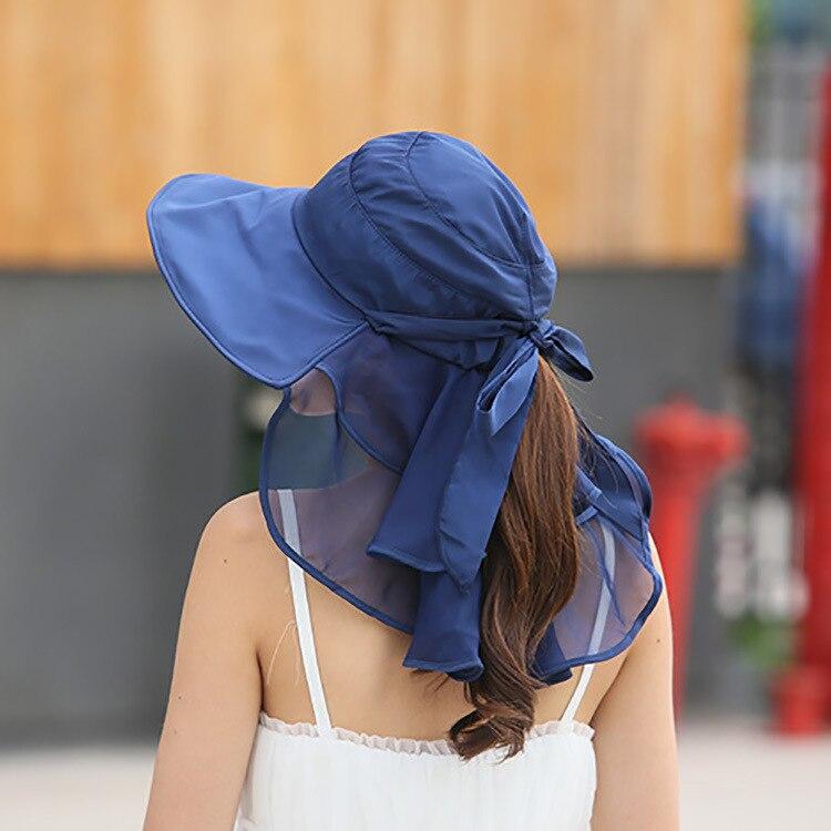 Sun Hats With Face Neck Protection For Women Sombreros Mujer Verano Wide Brim Summer Visor Caps Anti-UV Chapeu Feminino outdoor