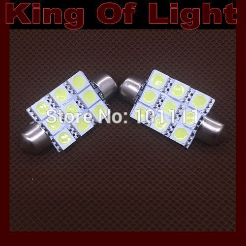 10x High quality car led stying lighting C5W 9SMD Festoon 41mm 9 LEDS SMD 5050 Reading lights Free shipping