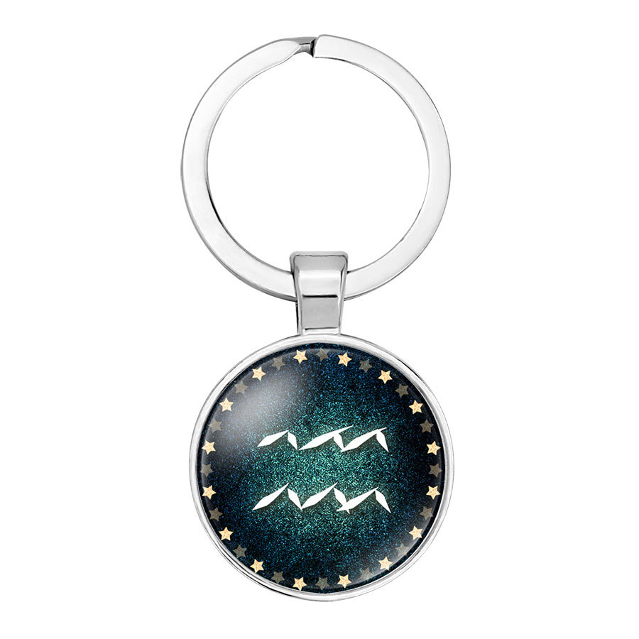 Hot sale 12 constellation time jewel key chain Fashion pendant sash consecrate 25mm glass key ring Holiday gift Factory direct