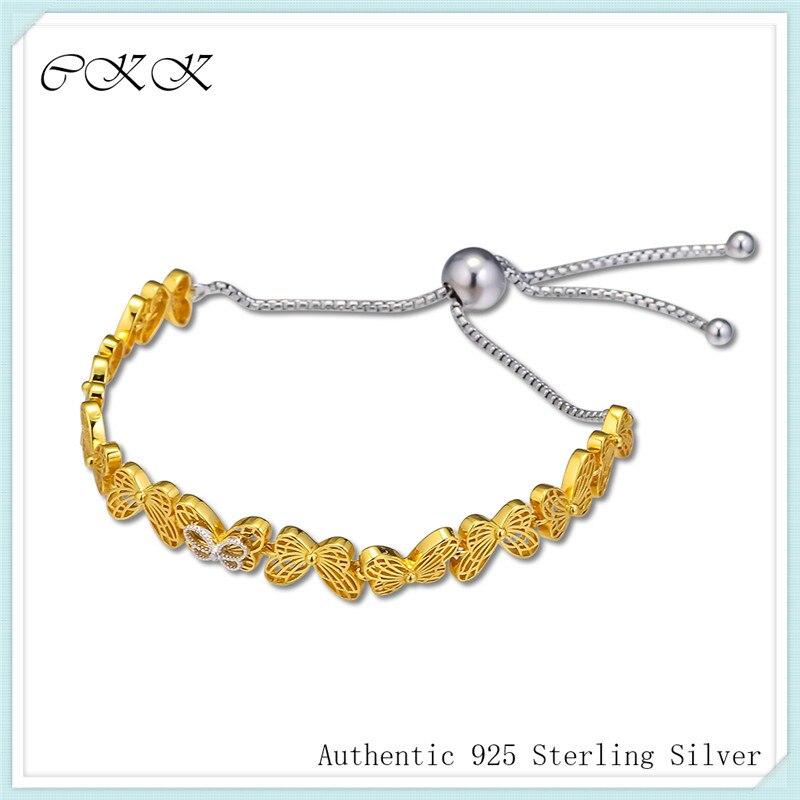 Sliding Bracelet 100 925 Sterling Silver Shine Openwork Butterflies Bracelets for Women Girl Gift PSH012