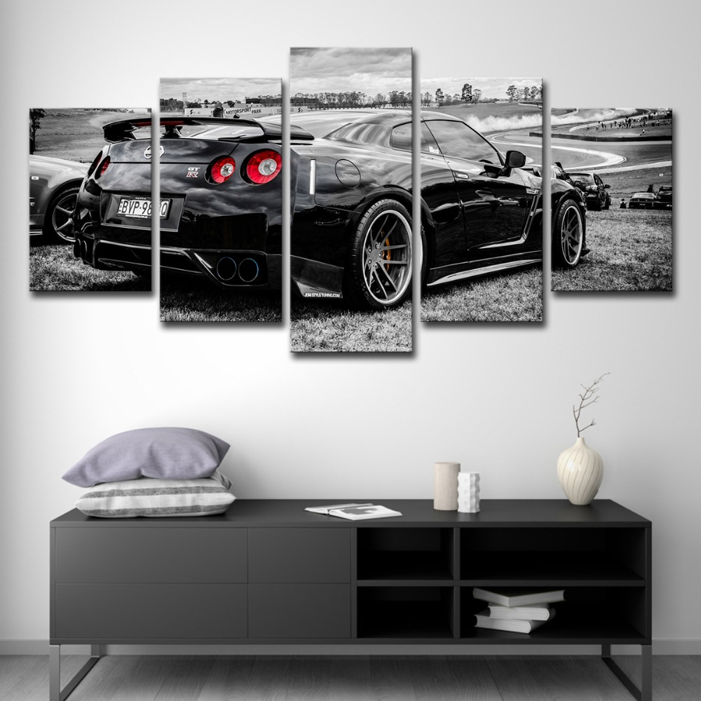 Canvas Pictures White Nissan GTR Sports Car Warm Sunset Landscape Wall Poster