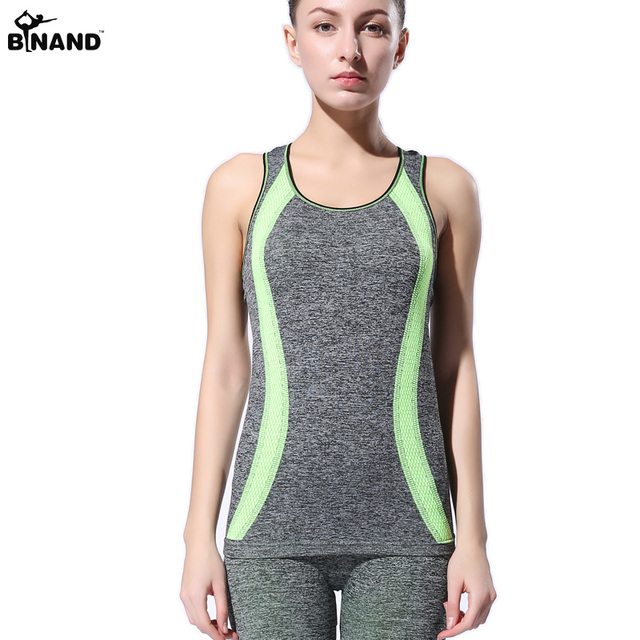 75758f6ab534fc BINAND Women Slim Round Neck Running Vest Sleeveless Exercise T Shirt  Fitness Sexy Tank Tops Quick Dry Stretch Fit Workout Tops