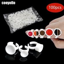 Einweg 100 stücke Tattoo Tinte Ringe Tassen S/M/L Permanent Make Up Pigment Halter Augenbraue Wimpern Verlängerung Kleber teiler Container