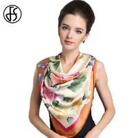 FS Hand Painted Flower Scarfs Chinese 100 Silk Scarves Large Square Design Woman Hijabs Shawls High