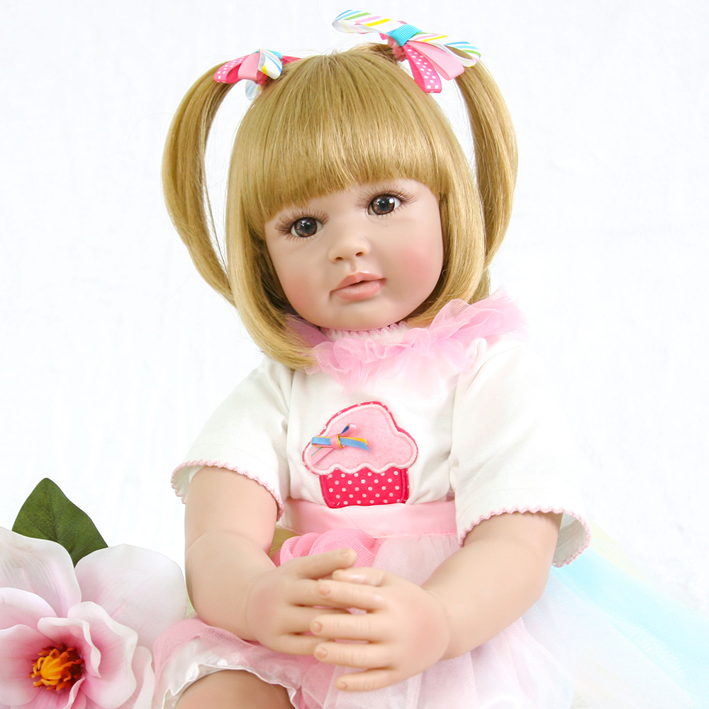 Adorable Short Blond Hair Vinyl Silicone Reborn Toddler Baby Doll Princess Girl Doll Toys for Girls Boys Education Birthday Gift adorable curly brown hair vinyl silicone reborn toddler princess girl baby alive doll toys with soft cloth body birthday gifts