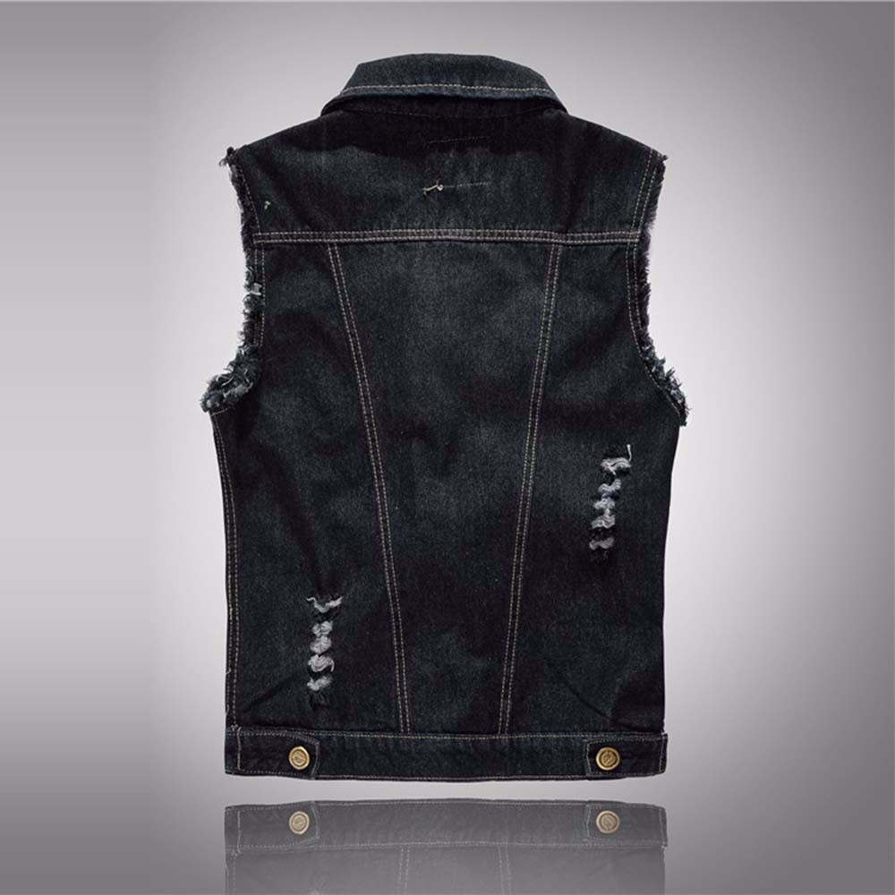 2016 Denim Vest Mens Sleeveless Jackets Fashion Washed Jeans Waistcoat Mens Tank Top Male Ripped Vests Jacket Plus Size