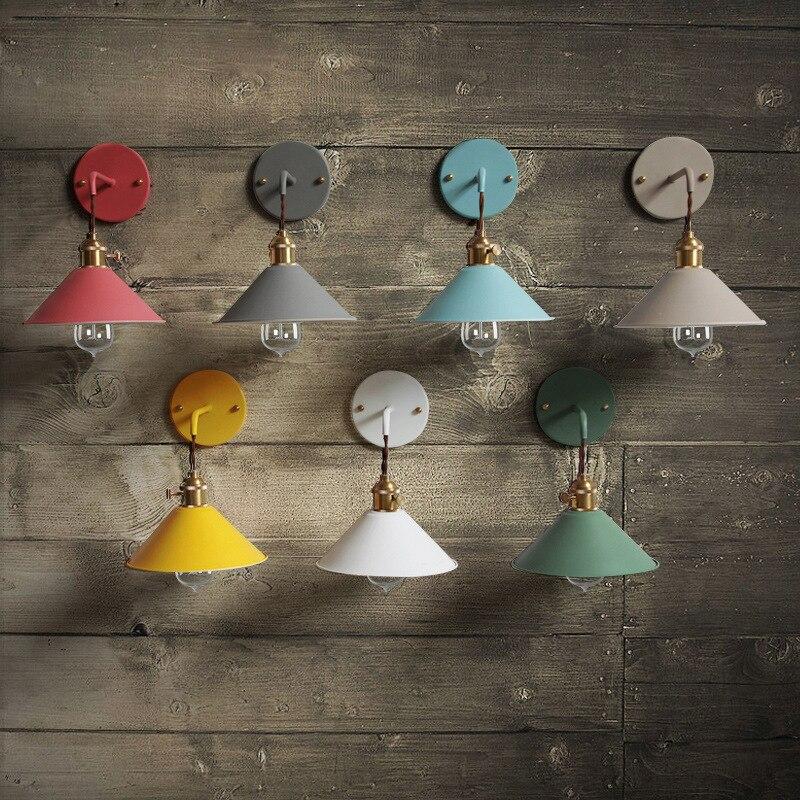 Nordic style led Bedside sconce wall lights modern E27 lamp living room bedroom lamp umbrella colorful