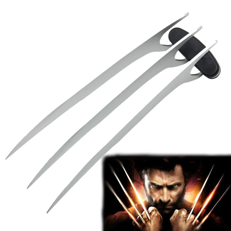 2 pcs Film X-Hommes Wolverines Logan En Acier Inoxydable Lame Wolve Griffe Patte Cosplay Prop pour Halloween Super Hero Cosplay Arme Jouet
