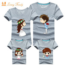 Family Matching Outfits Mother Father Son Daughter 11 Colors Cartoon Bride Bridegroom Print Women Men Children Boy Girl T shirt(China)