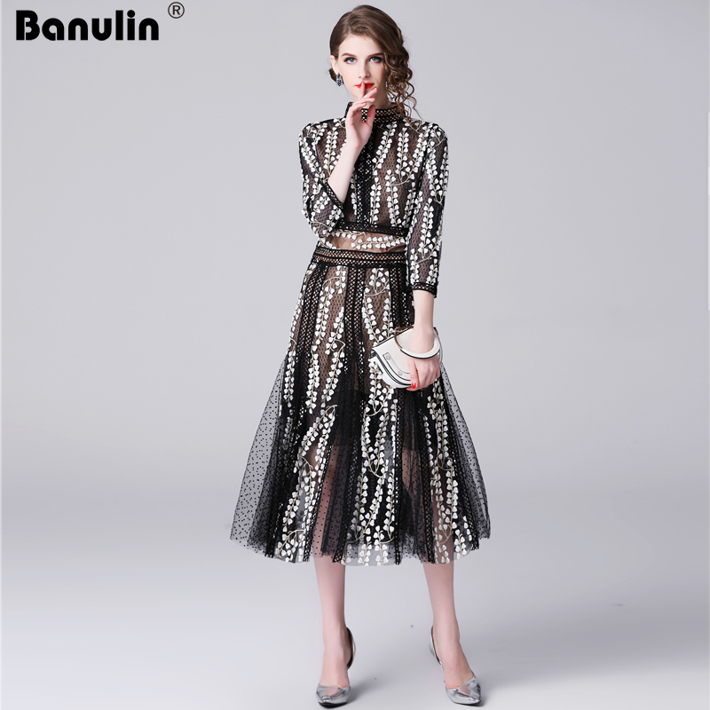 Banulin HIGH QUALITY New Fashion 2019  Autumn Runway Party Dress Women's Long Sleeve Lace Gauze Embroidery Mid calf Dress-in Dresses from Women's Clothing    1