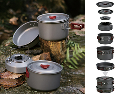ФОТО Fire Maple 4-5 Persons Cooking Set Team Pot Sets Frying Pan 2 Pot Tea Pot Portable Outdoor Camping Tablewares FMC-209