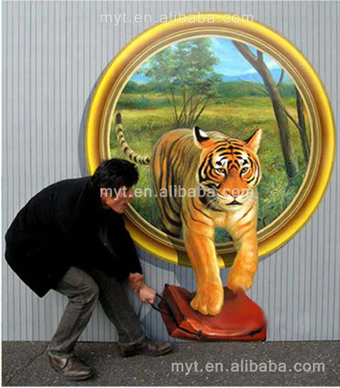 3D Wall Art Chinese Painting Handpainted Tiger Runing Out