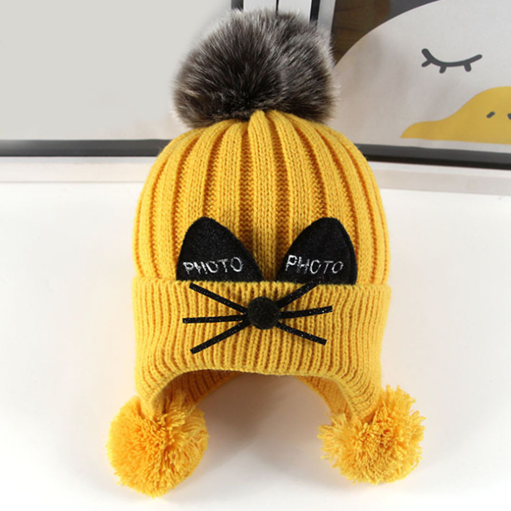 Men's Newsboy Caps Apparel Accessories Honey Childrens Warm Earmuffs Hat Kitted Beard Cat Wool Caps 1-4 Years Baby Winter Knit Hats 44-50cm Infant Crochet With 3 Pompons Ideal Gift For All Occasions