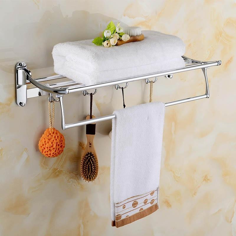 Luxury Solid Brass Bathroom Wall Mounted Bathrobes Bath Towel Racks Polished Chrome Bathroom