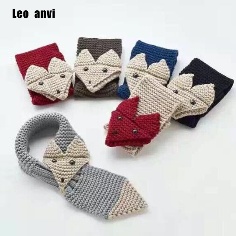 10pcs/lot new fashion boys girl Adjustable Hand Knit baby FOX Scarf neck warm for Kids Children scarves Christmas gift