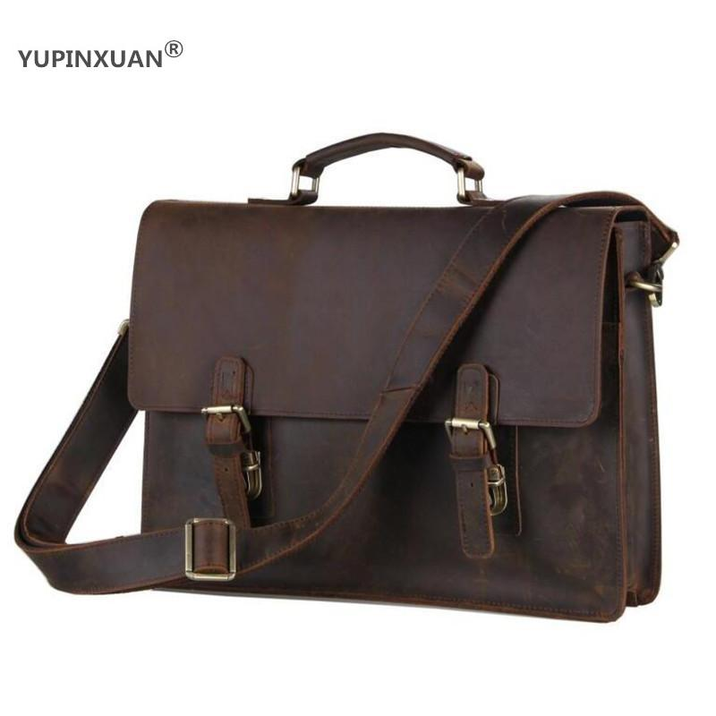 YUPINXUAN Dark Brown Crazy Horse Leather Handbags Men First Layer Cow Leather Messenger Bags High Capacity Leather Shoulder Bags yupinxuan dark brown crazy horse leather handbags men first layer cow leather messenger bags high capacity leather shoulder bags