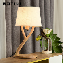 BOTIMI Art Decor Table Lamp With Fabric Lampshade Wooden Bedside Lamps Designer Hotel Reading Lighting Warm Bedroom Book