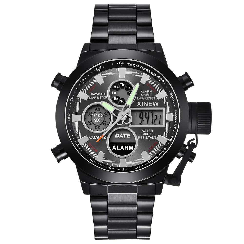 100% QualitäT Chronograph Business Uhr Edelstahl Dual Time Analog Digital Uhren Männer Wasserdichte Uhr Relogio Masculno Original 2018