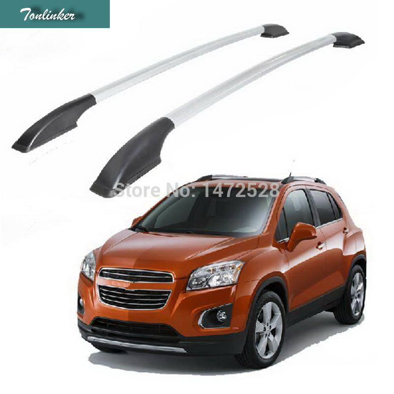 Tonlinker 2 PCS DIY 4 Free Tripod Pad Car Styling Aluminum Modified Punch-free Roof Rack Stickers for Chevrolet TRAX Accessories bjmycyy 2 pcs car styling stainless steel small speaker circle patch stickers cover casw for chevrolet trax 2014 accessories