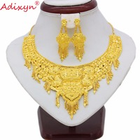 Adixyn New India Jewelry Set For Women Girls Gold Color Tassels Necklace/Earrings Elegant Arab bridal Wedding Gifts N070113