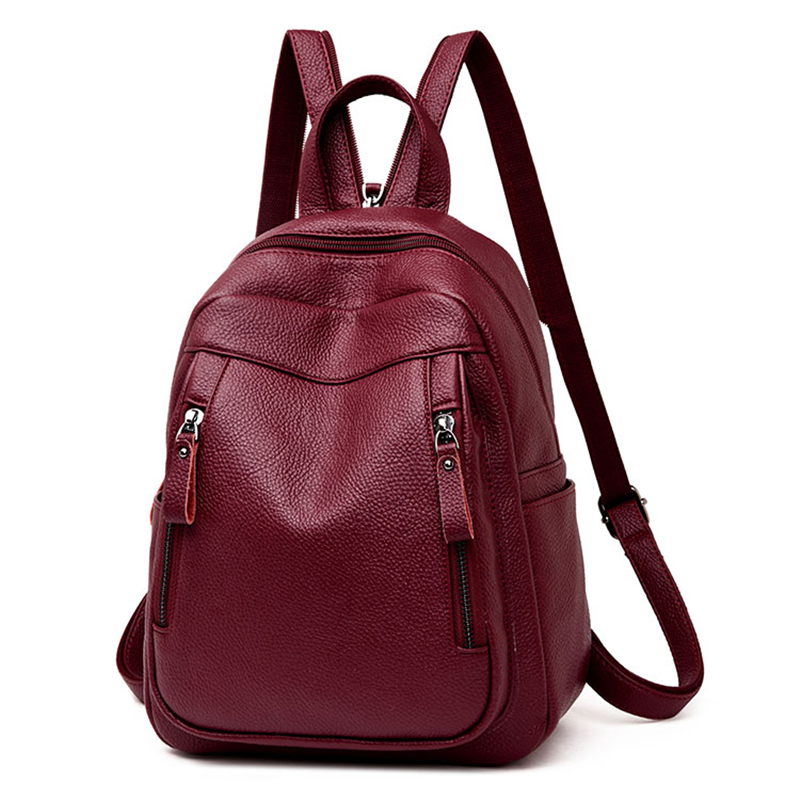 zooler backpack casual 2017 new high quality woman leather backpacks school bag red pots designed backpack mochila d118 High Quality Leather Backpack Woman New Arrival Fashion Female Backpack Chest Bag Large Capacity School Bag Mochila Feminina