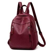 VANDERWAH High Quality 3 in 1 Female Backpack women Leather Zipper Backpack Chest Bag Large Capacity School Bag Travel Mochila
