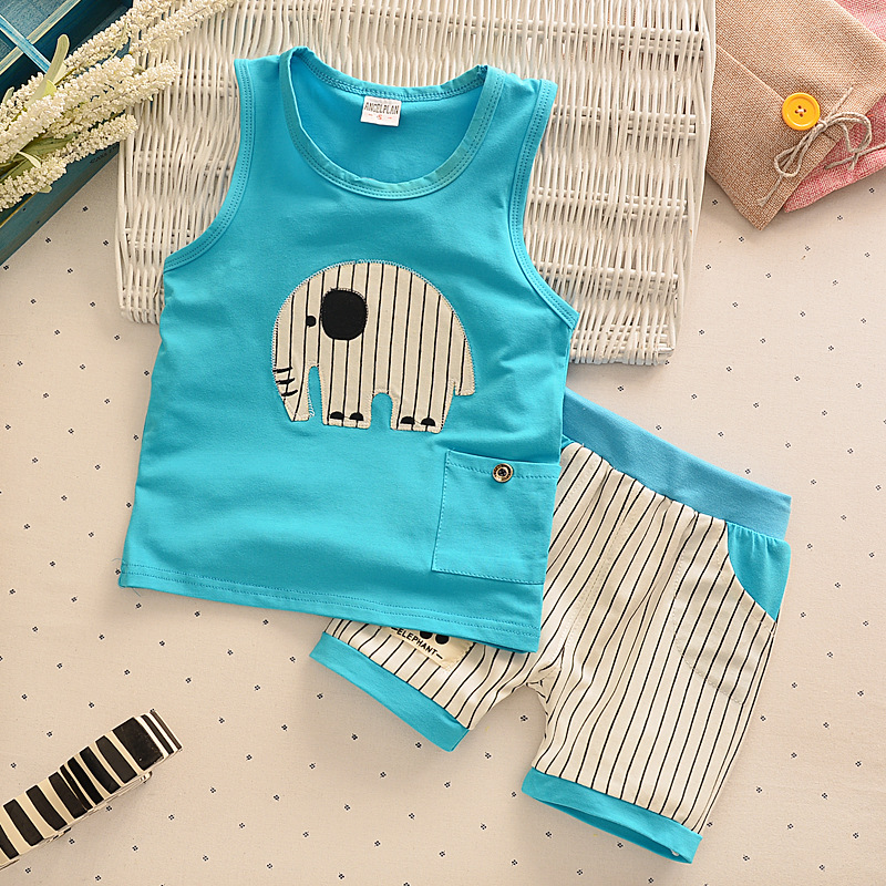 Summer Baby Boys Clothing Set Cotton Animal Print T-shirt+Striped Shorts Sports Suit Children Girls Cartoon Clothes Kids Outfit 2pcs boys girls set 2016 summer style children clothing sets baby boys girls t shirts shorts pants sports suit kids clothes