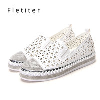 Loafers Women Shoes 2019 Fashion Espadrilles Ladies Moccasins Shoes Women Crystals Loafers Summer Breathable Creepers Fletiter