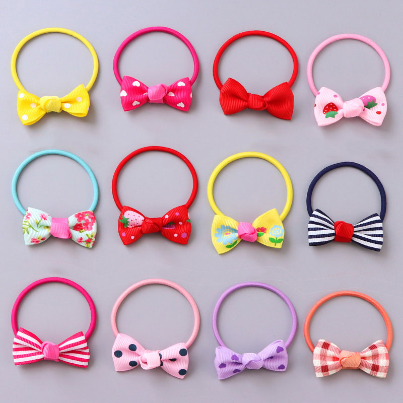 2PCS/Lot Girls Cute Flower Dot Striped Heart Small Bow Colorful Elastic Rubber Bands Ponytail Holder Hair Bands Hair Accessories new 10pcs girls merry christmas headband flower hair elastic bands red hair accessories bow animals pattern ropes ties gift