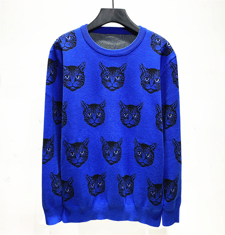 New Novelty Men Winter Embroidered Full Cat Lightning Knit Casual Sweaters Pullovers Asian Plug Size High Quality Drake #AA7