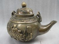 Elaborate Chinese old copper hand carved fairy riding on the unicorn auspicious teapot