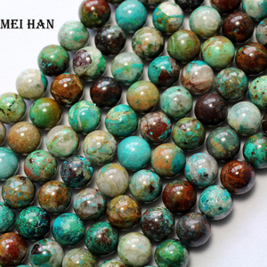Image 2 - Meihan hurtownia (38 kulek/zestaw/46g) 9.3 10mm naturalne A + chryzokola gładkie okrągłe luźne koraliki na projektowanie biżuterii DIY
