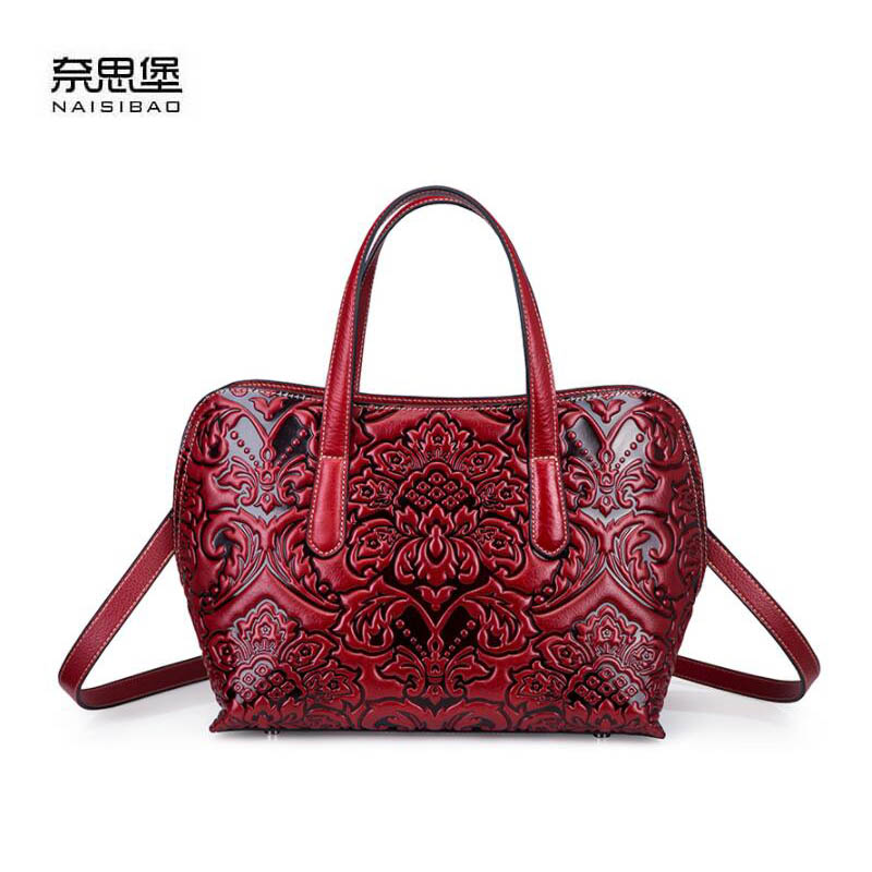 NAiSIBAO 2018 New top Cowhide women genuine Leather bag fashion Embossed bag luxury designer women leather shoulder bag