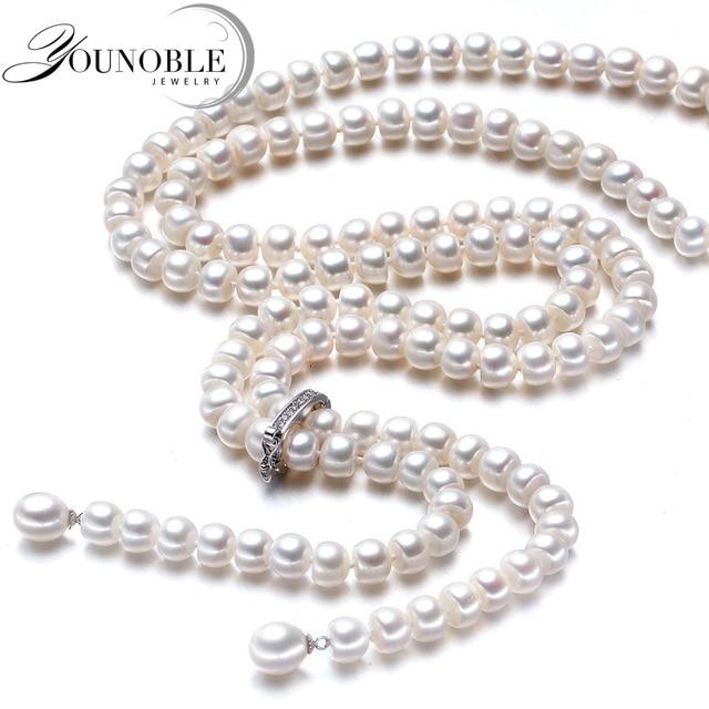 900 мм длинное жемчужное ожерелье Женские Свадебные настоящее пресной воды, Серебро 925 натуральный Свадебные белые жемчужные ожерелья мать украшения для девочек