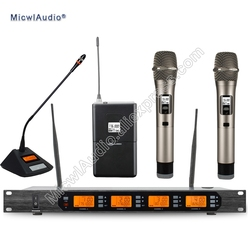 D400 4x100 Channel Digital Wireless Microphone System 1Gooseneck + 1Bodypack + 2Handheld Micwl.Audio D400-008