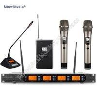 D400 4x100 канальный цифровой Беспроводной микрофон Системы 1 Гусенек + 1 поясной + 2 ручной Micwl. аудио D400 008