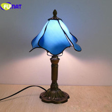 FUMAT Table Lamp Tiffany American Stained Glass 7Inch bedroom bedside Light Mediterranean LED Art home deco mariage night lights