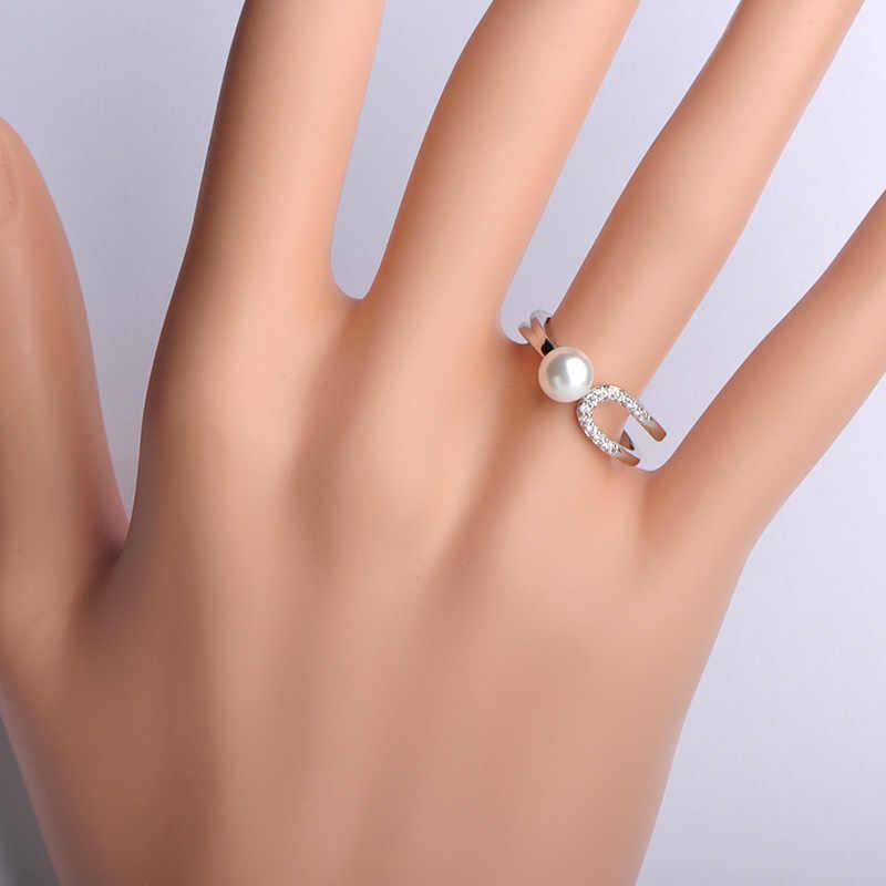 Dazz סימולציה פרל חתונה דק נחושת טבעת עבור נשים בנות תכשיטי אביזרי אירוסין מתנות אנל נשים שמלת מסיבת טבעות