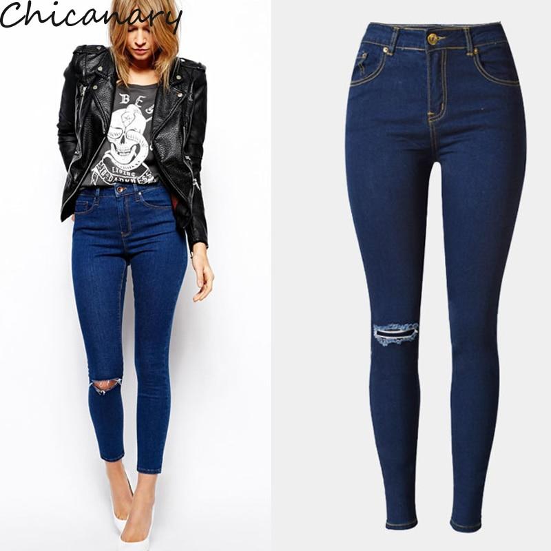 Beggar Jeans Women Hole Knee Ripped Pencil Pant High Waist Elastic Skinny Jeans Cotton Denim Pants