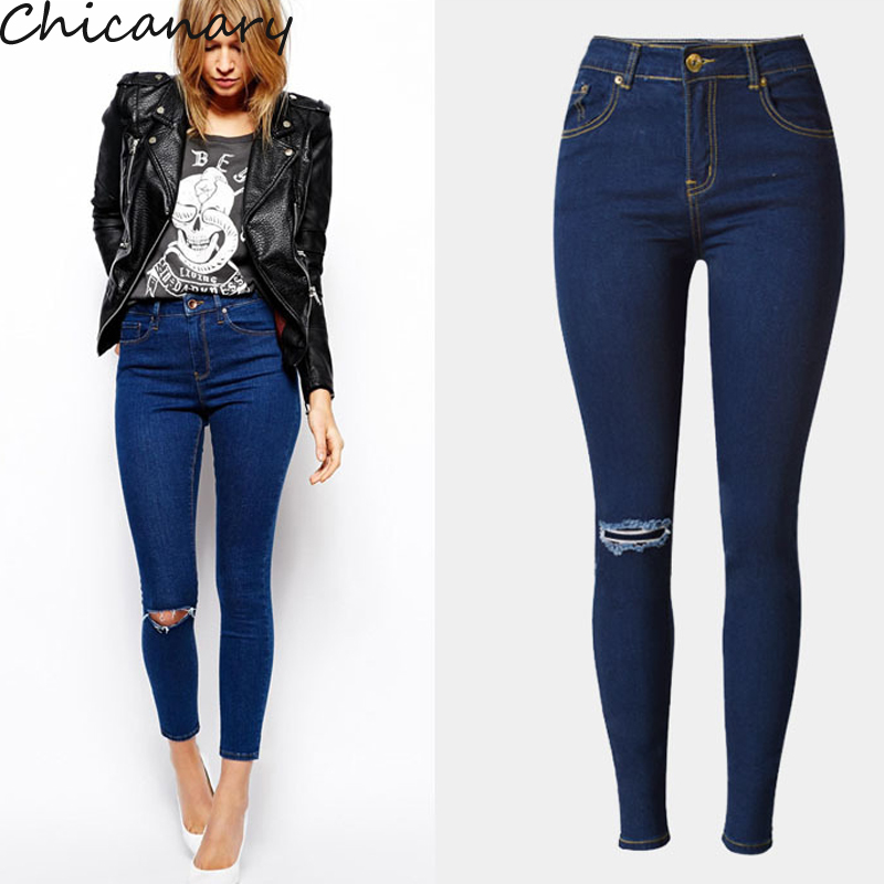 Chicanary Beggar Jeans Women Hole Knee Ripped Pencil Pant High Waist Elastic Skinny Jeans Cotton Denim Pants Plus Size beggar s feast